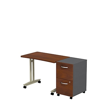 Bush Westfield Adjustable Height Mobile Table with Mobile Pedestal, Hansen Cherry/Graphite Gray