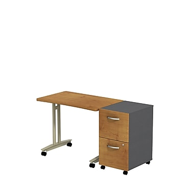 Bush Westfield Adjustable Height Mobile Table with Mobile Pedestal, Natural Cherry/Graphite Gray