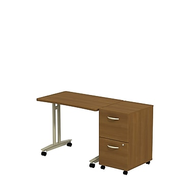 Bush Westfield Adjustable Height Mobile Table with 2-Drawer Mobile Ped, Cafe Oak