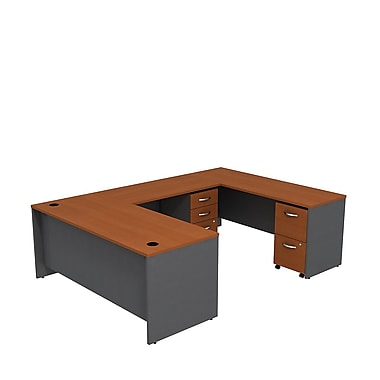 Bush – Bureau en U de 72 po de la collection Westfield, cerisier d'automne et gris graphite
