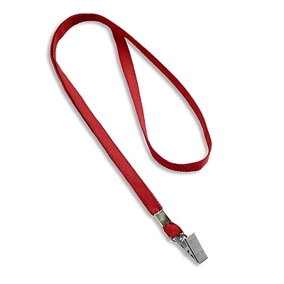 Blank Flat Woven Lanyards With Metal Bulldog Clip, Red