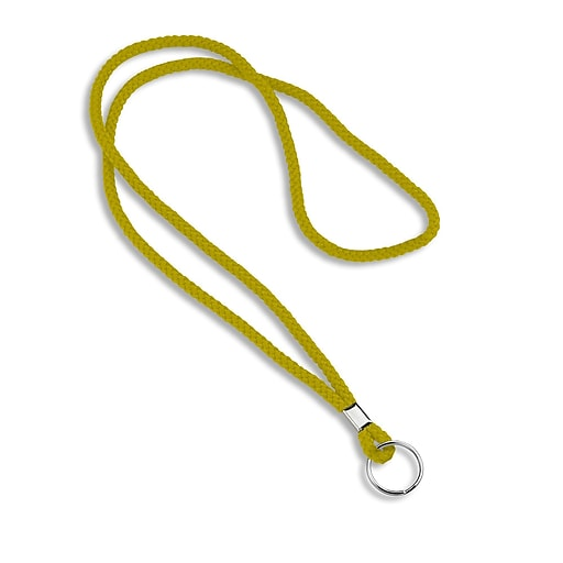 Blank Round Woven Lanyards With Metal Split Ring, Yellow