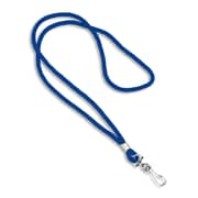 Blank Round Woven Lanyards With Metal J-Hook, Royal Blue