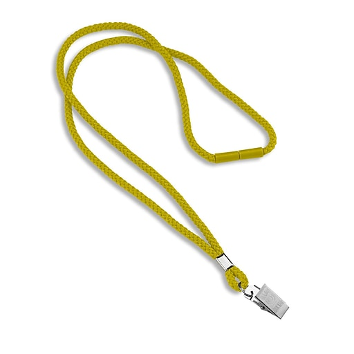 """IDville 1343502YLC31 36"""" Blank Round Woven Breakaway Lanyards with Bulldog Clip, Yellow, 25/Pack"""