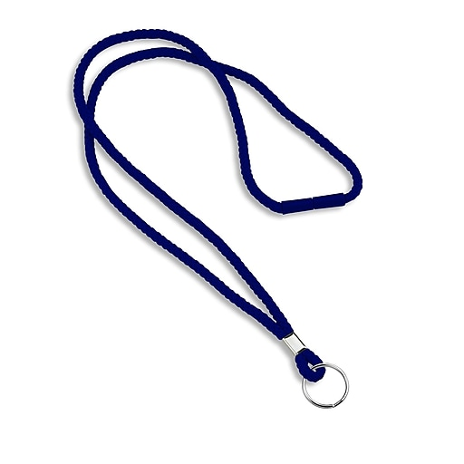 """IDville 1343502BLR31 36"""" Blank Round Woven Breakaway Lanyards with Split Ring, Navy, 25/Pack"""