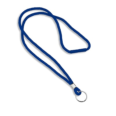 IDville® Blank Round Woven Breakaway Lanyards With Split Ring, Royal Blue