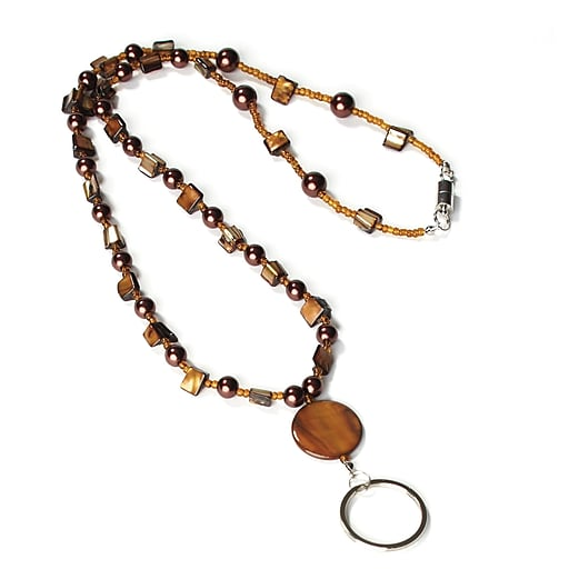 """1346787BR31 32"""" Beaded Lanyard with Split Ring, Brown"""