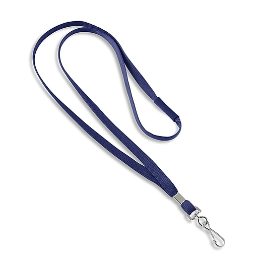 "1343503BLH31 36"" Blank Flat Woven Breakaway Lanyards with J-Hook, Blue, 25/Pack"