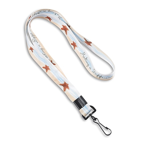 """1340001STC31 36"""" Starfish Making a Difference Lanyards, White, 10/Pack"""
