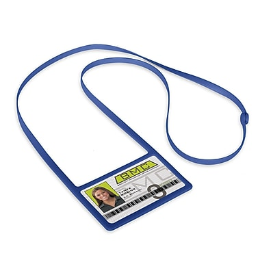 IDville 1346874RB31 Horizontal Badge Holders with Flexible Lanyard, Royal Blue, 10/Pack