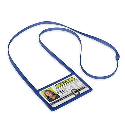 1346874RB31 Horizontal Badge Holders with Flexible Lanyard, Royal Blue, 10/Pack
