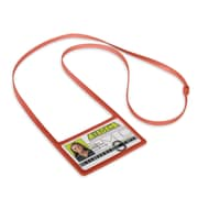 1346874RD31 Horizontal Badge Holders with Flexible Lanyard, Red, 10/Pack