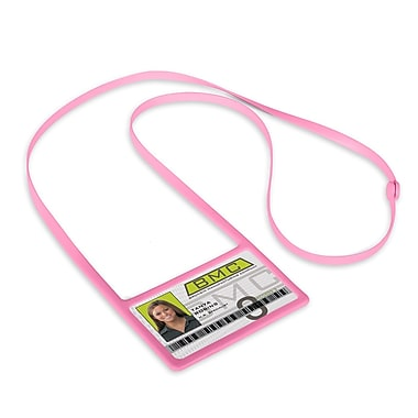 IDville 1346874PK31 Horizontal Badge Holders with Flexible Lanyard, Pink, 10/Pack