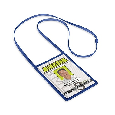 1346873RB31 Vertical Badge Holders with Flexible Lanyard, Royal Blue, 10/Pack