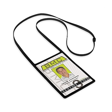 1346873BK31 Vertical Badge Holders with Flexible Lanyard, Black, 10/Pack