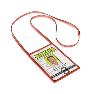 1346873RD31 Vertical Badge Holders with Flexible Lanyard, Red, 10/Pack