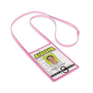 1346873PK31 Vertical Badge Holders with Flexible Lanyard, Pink, 10/Pack