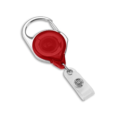 1347572RD31 Round Spring Clasp Carabiner Badge Reels, Red, 25/Pack