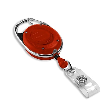 1347560RD31 Round Spring Clasp Carabiner Badge Reels with LED Light, Red, 25/Pack