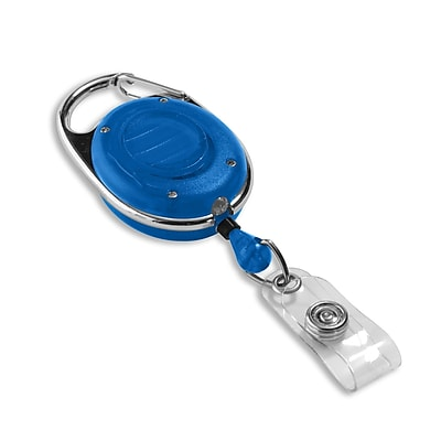 1347560BL31 Round Spring Clasp Carabiner Badge Reels with LED Light, Blue, 25/Pack