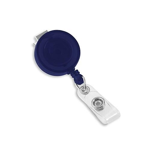 IDville 1345198BL31 Round Swivel Clip Translucent Badge Reels, Blue, 25/Pack