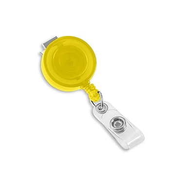 1345198YL31 Round Swivel Clip Translucent Badge Reels, Yellow, 25/Pack