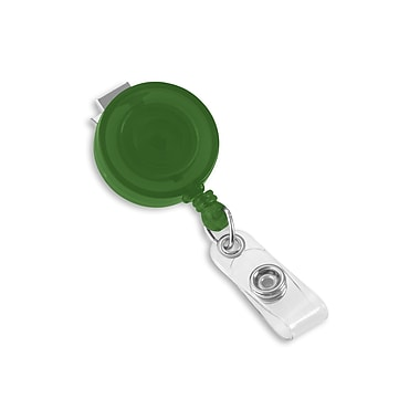 1345198GR31 Round Swivel Clip Translucent Badge Reels, Green 25/Pack