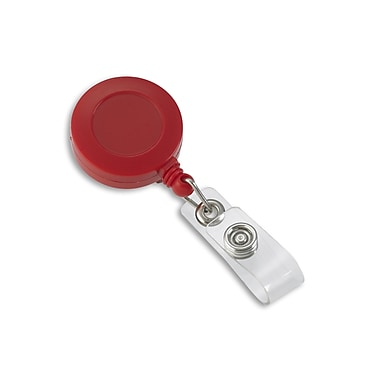 1342811RD31 Round Slide Clip Solid Color Badge Reels, Red, 25/Pack