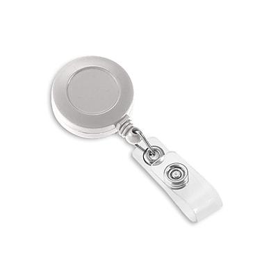 1342811WT31 Round Slide Clip Solid Color Badge Reels, White 25/Pack