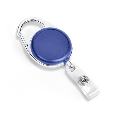 1343039BL31 Round Slide Clip Carabiner with Retractable Tape Measure Badge Reels, Blue, 25/Pack