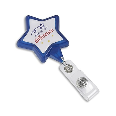 134526231 Star Swivel Clip Making the Difference Badge Reels, Blue/White, 25/Pack