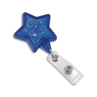 134526331 Star Swivel Clip Pre-Designed Badge Reels, Blue, 25/Pack