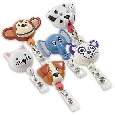 134514931 Animal Shaped Badge Reels, Assorted, 12/Pack