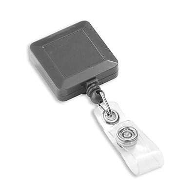 1343770BK31 Square Slide Clip Badge Reels, Black, 25/Pack