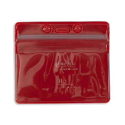 IDville 1347030RD31 Horizontal Sealable Badge Holders, Red, 50/Pack
