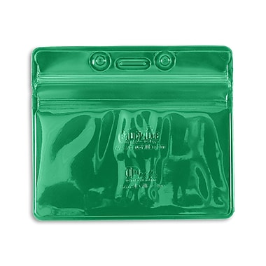 1347030GR31 Horizontal Sealable Badge Holders, Green, 50/Pack