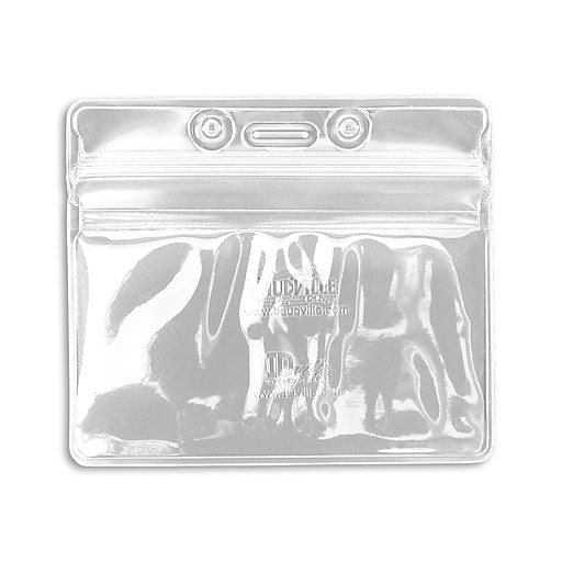 1347030WT31 Horizontal Sealable Badge Holders, White, 50/Pack