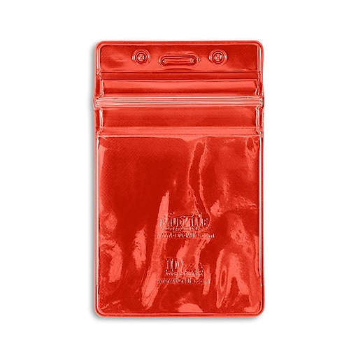 IDville 1347026RD31 Vertical Sealable Badge Holders, Red, 50/Pack