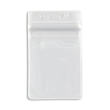 1347026CL31 Vertical Sealable Badge Holders, Clear, 50/Pack