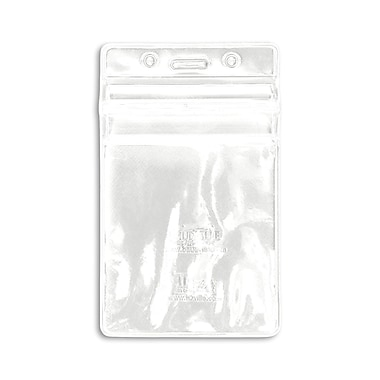 1347026WT31 Vertical Sealable Badge Holders, White, 50/Pack