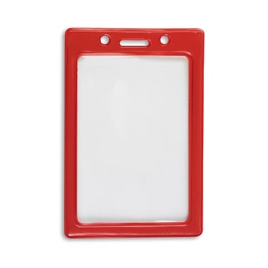 1347031RD31 Vertical Color Frame Badge Holders, Red, 50/Pack