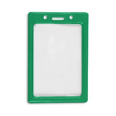 1347031GR31 Vertical Color Frame Badge Holders, Green, 50/Pack