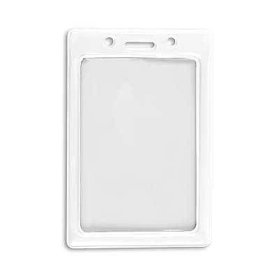 IDville 1347031WT31 Vertical Color Frame Badge Holders, White, 50/Pack