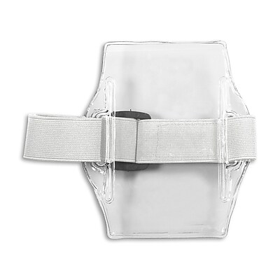 1345237WT31 Vertical Armband Badge Holders, White, 10/Pack