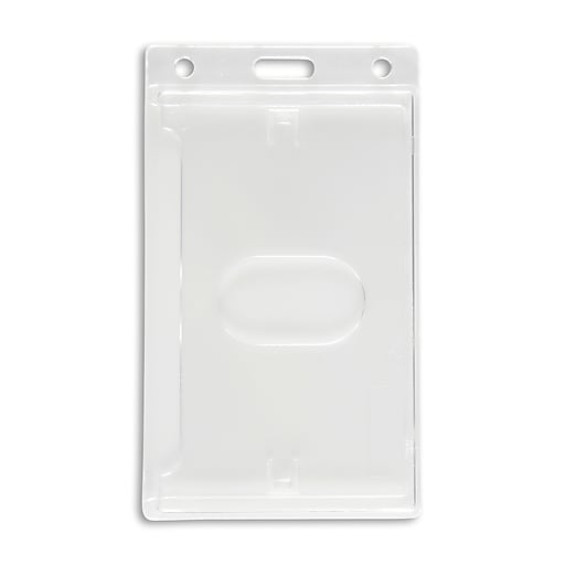 134664931 vertical id badge holders clear 50 pack staples
