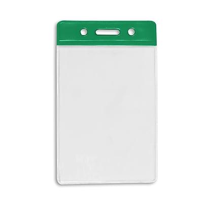 1345266GR31 Vertical Color Bar Badge Holders, Green, 50/Pack
