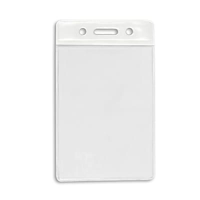 IDville 1345266WT31 Vertical Color Bar Badge Holders, White, 50/Pack