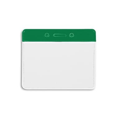 1343821GR31 Color Bar Horizontal Badge Holders, Green, 50/Pack