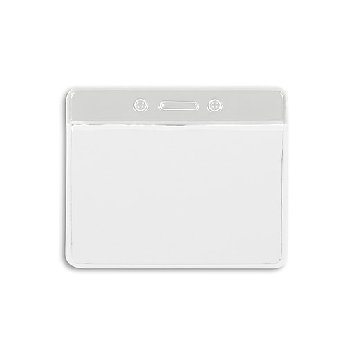 IDville 1343821WT31 Color Bar Horizontal Badge Holders, White, 50/Pack