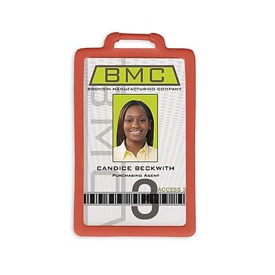 1341224RD31 Vertical Badge Holders, Red, 10/Pack